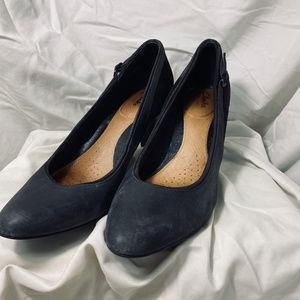 Clark's Artisan Black Leather and Suede Heels